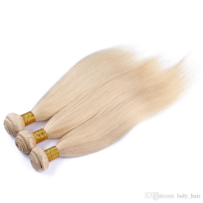 Stock Brésilienne Blonde Vierge Cheveux Avec Fermeture Soyeux Droite 613 Bleach Blonde Dentelle Fermeture Avec Cheveux Humains Brésiliens 3Bundles