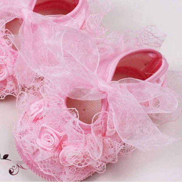 Zapatos de bebé niña primeros caminantes Zapatos de princesa de encaje de bebé niñas pequeños zapatos de cuna antideslizante suela suave