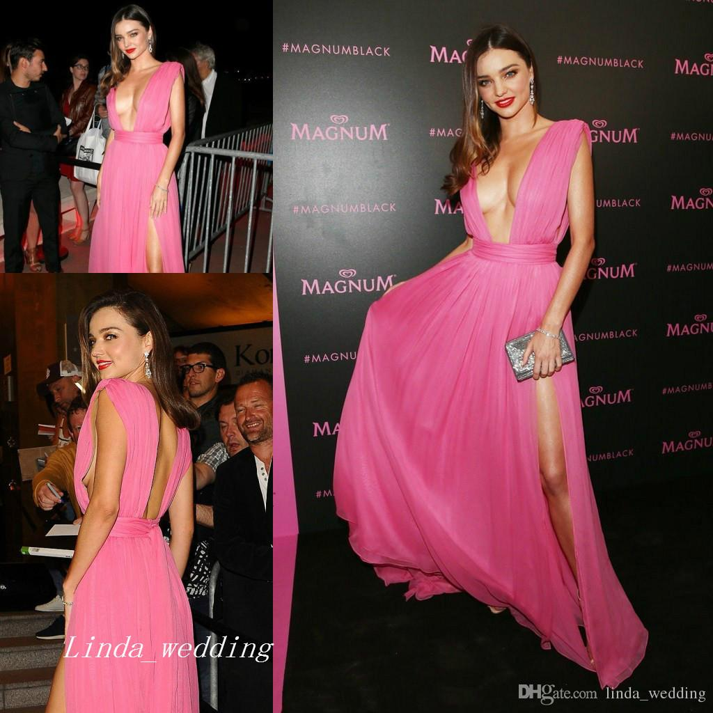 Miranda Kerr Cannes Film Festival Evening Dress New Deep V Neck ...