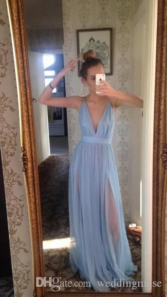 Cheap Bridesmaid Dresses 2019 Sexy Deep V Neck Sleeveless A Line Split Simply Tulle Bridesmaids Evening Party Gowns