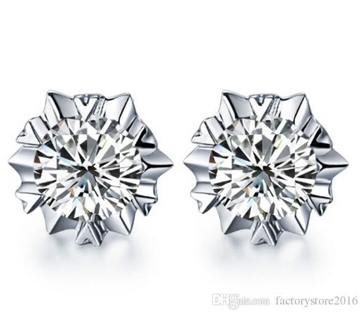 Orecchini in argento 925 Orecchini in cristallo naturale di moda all'ingrosso fiocco di neve orecchini Sutd con gioielli con diamanti CZ le donne regalo di Natale
