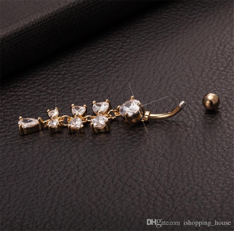 Vendita calda di alta qualità trasparente cristallo 3 bowknot navello bar bell tasto anelli piercing ombelico corpo gioielli la giovane donna BR-045