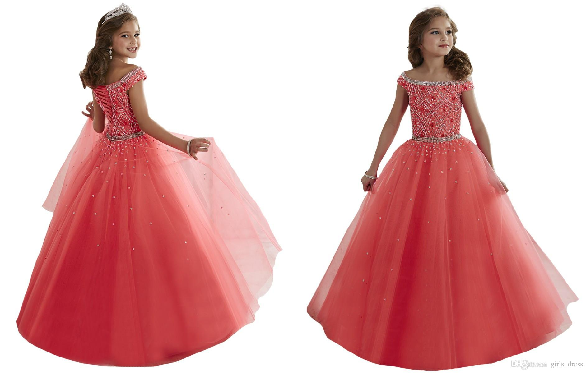 Amazing Children Glitz Ball Gowns With Bateau Beadeds Organza Little ...