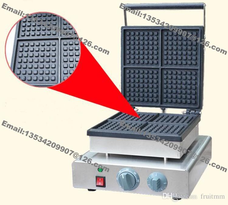 Commercial Use Non-stick 4-slice 110v 220v Electric Square Tranditional Belgian Waffle Maker Iron Baker Machine