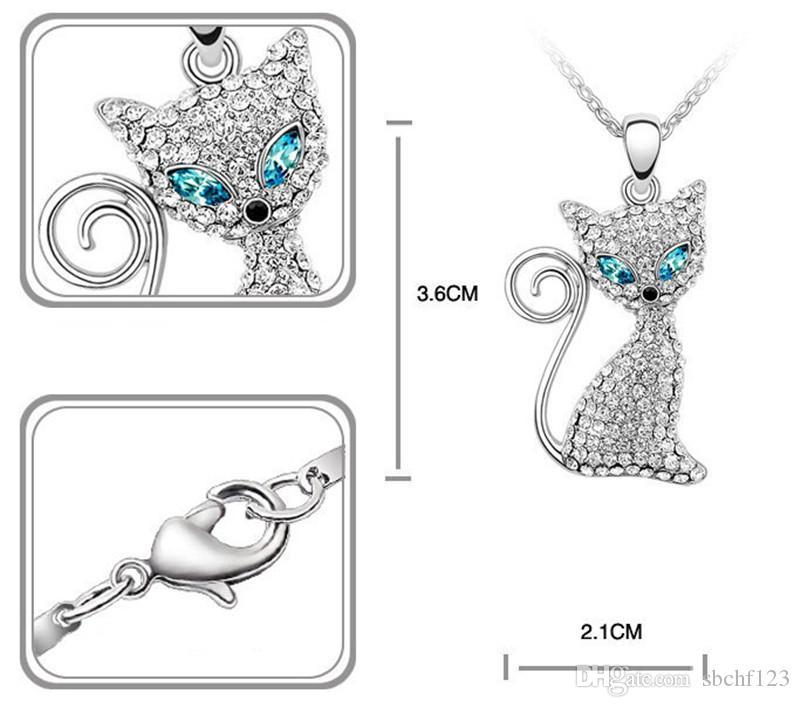 Collana del ciondolo di cristallo del gattino del gattino del gattino realizzato con gli elementi Swarovski delle donne della collana delle donne di alta qualità placcato oro bianco 707