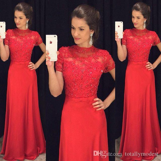 Red Lace Chiffon Modest Prom Dresses With Short Sleeves Beaded High Neck A-line Formal Evening Wear Sleeves Long Floor Length Party Dress