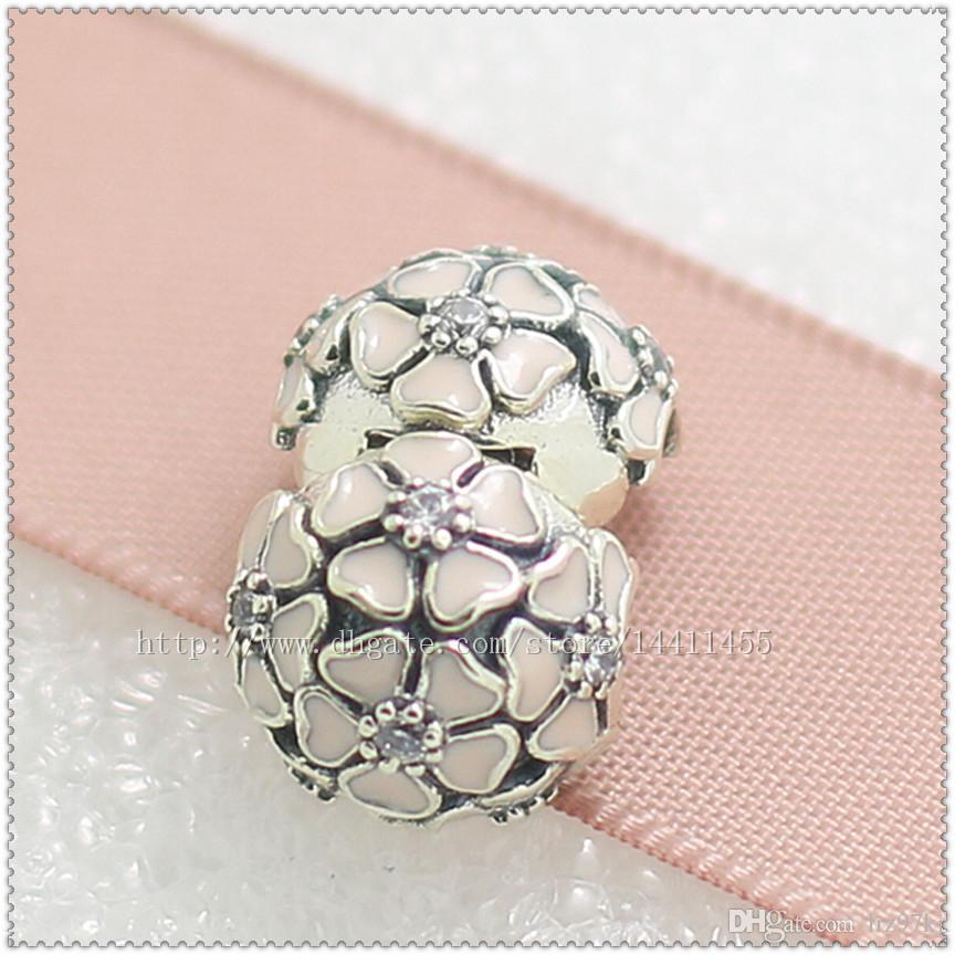 Nieuwe 2016 lente 925 sterling zilveren poëtische bloemen clip charme kraal met roze glazuur en cz past Europese pandora sieraden armbanden ketting
