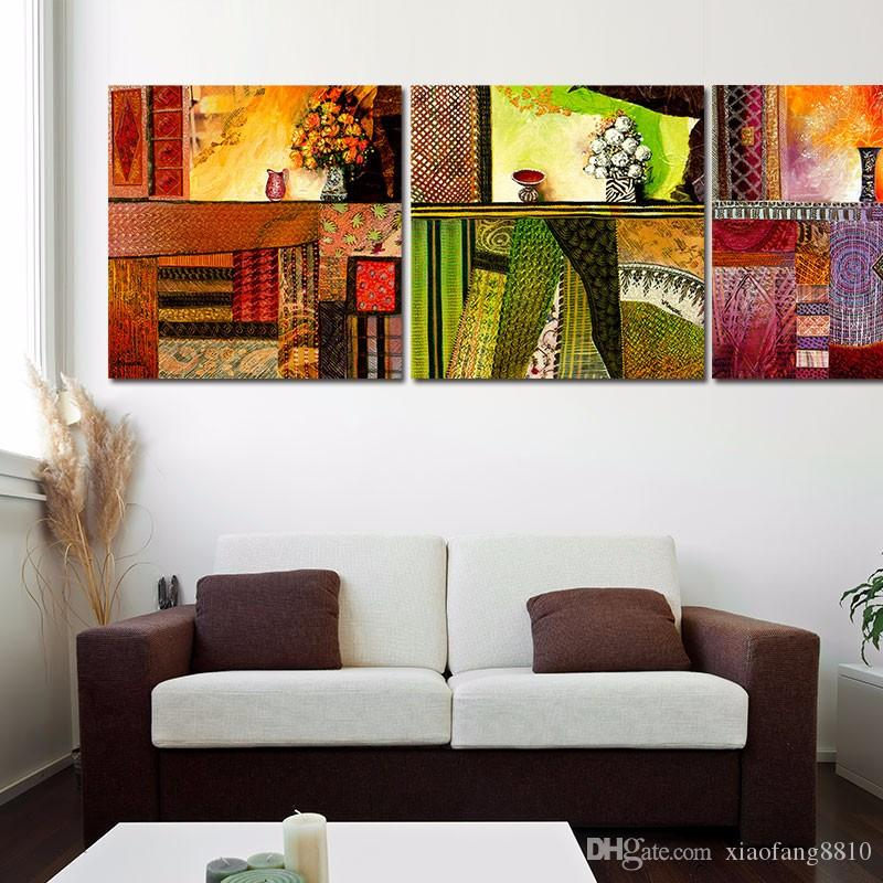 Abstract still life flowers vases leaf pattern decoration wall art picture Canvas Painting for living room unframed