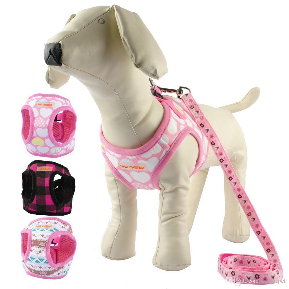 Sevimli Yavru Köpek Koşum ve Yürüyüş Leads Set 4 Boyutları Küçük Köpekler için Pet Kış Yelek Chihuahua Teddy Pembe Siyah Renkler