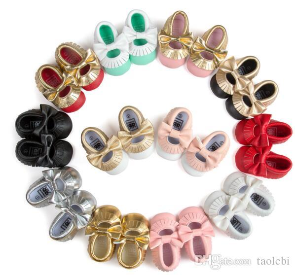 mix styles New Styles Baby Soft PU Leather Tassel Moccasins baby Moccs Baby Booties Toddler Solid Colour Tassel Shoes Moccasin