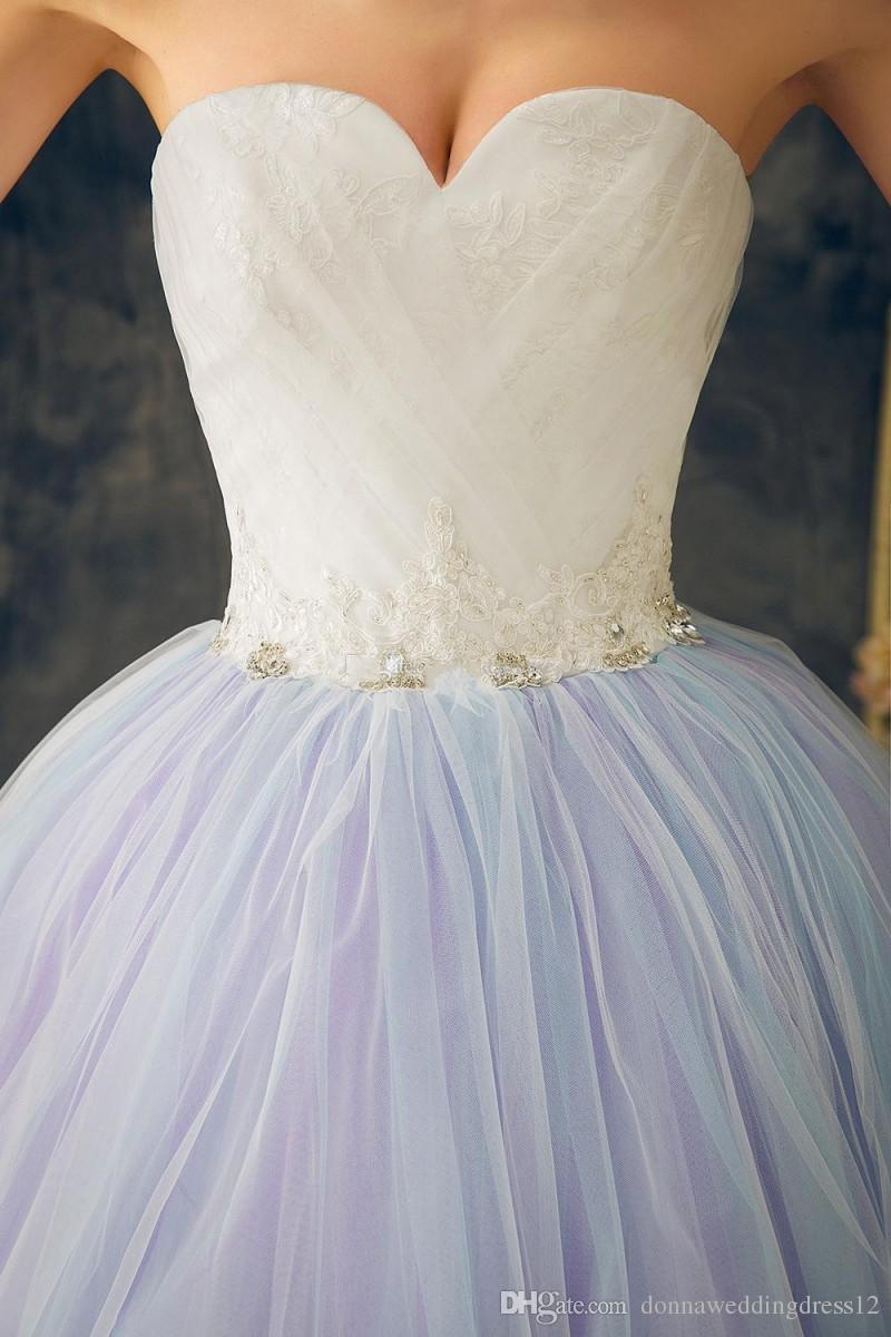 Robe de novia coloré robes de mariée longues 2017 Sexy Sweetheart Top Dentelle Tulle robe de mariée 2018 robe de mariée livraison gratuite
