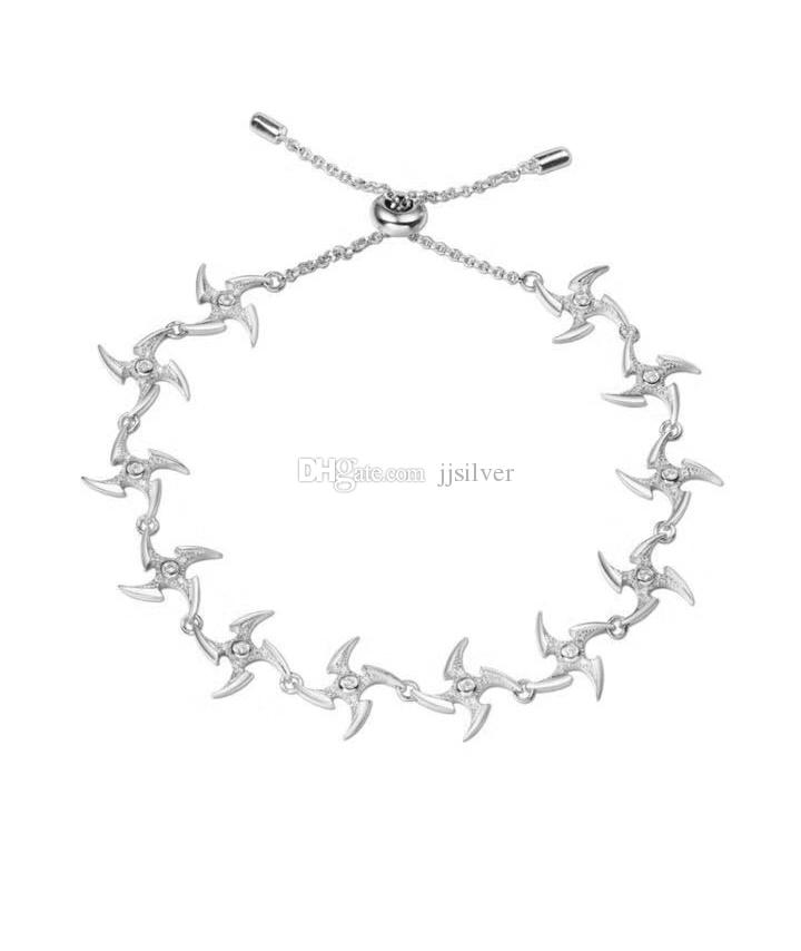 925 Sterling Silver Darts Pulseras para mujeres para hombres Pave Tiny Cubic Zircon Adjustable Chain Macrame jewelry for women