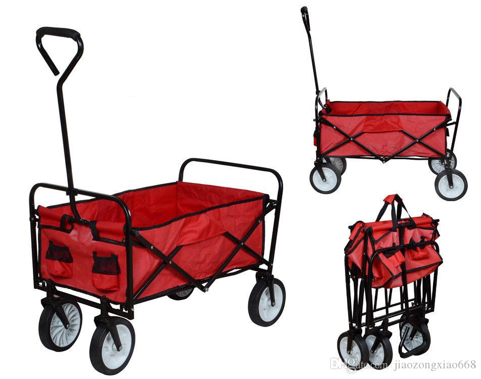 Folding Utility Wagon Collapsible Garden Cart Shopping Beach Toy Sports Cart  Red Garden Cart Shopping Beach Toy Sports Ca Online With $52.41/Piece On ...