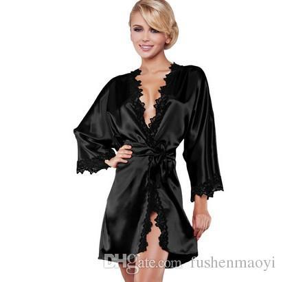 Serie di biancheria intima delle donne della moda Sexy Ice Silk Camicia da notte Sauna vestiti sexy Sleepwear Silk Satin 4 taglie i
