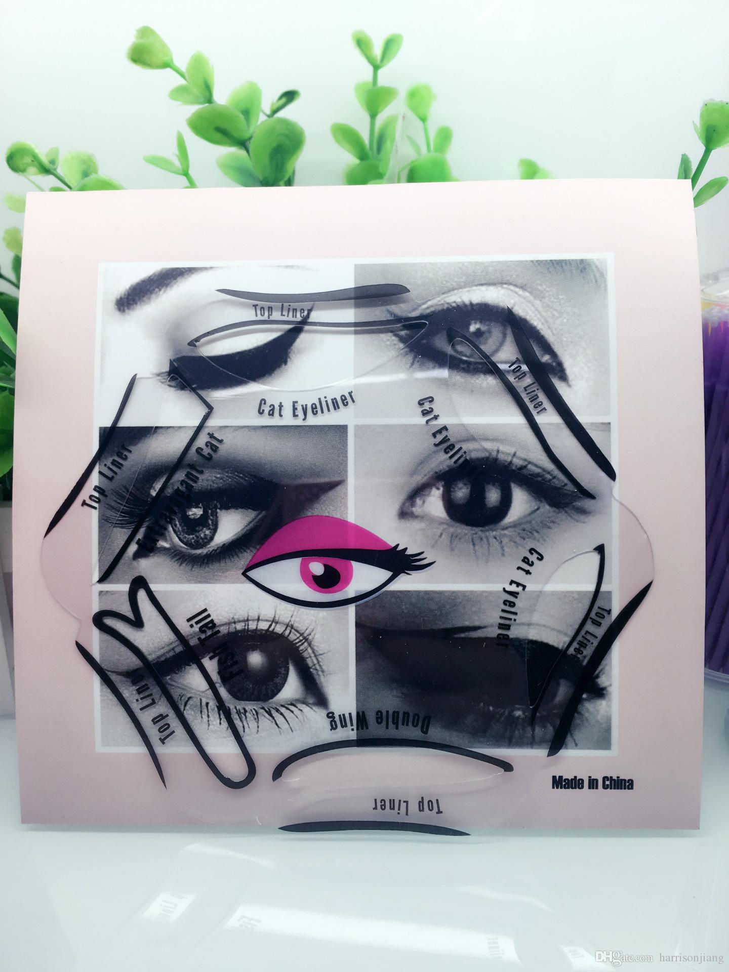 New 6 In 1 Cosmetic Eyeliner Stencils Charming Cat Eye and Smokey Eyes Drawing Guide Multi-use Eye Liner Template Tool Kit