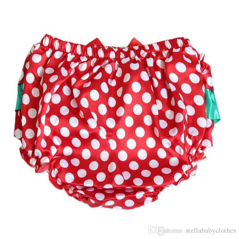 Noel için Bebek Şort Bloomer Yaz Puanl Fırfır Kızlar Şort Saten Fırfır Yay ile Bebek Çocuk Shorties Pantolon