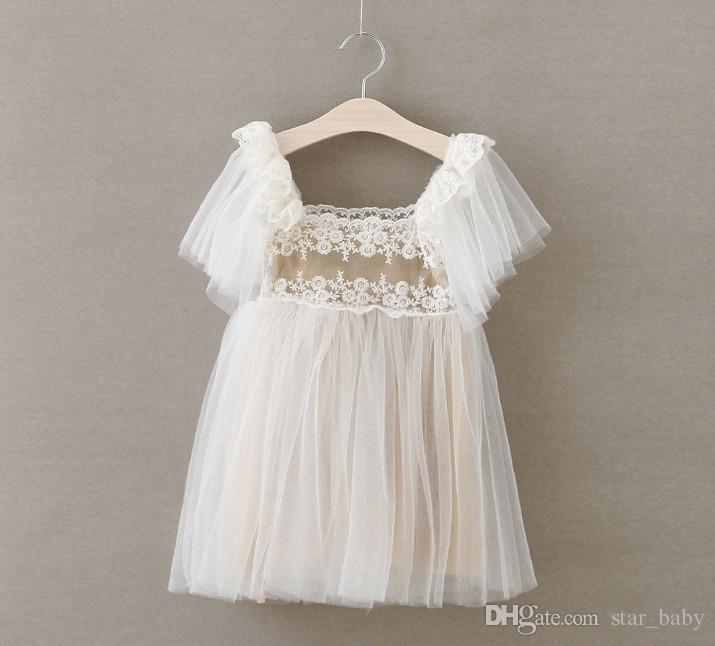 Hot Sell Summer Girls Sweet Lace Tulle Dress Butterfly Sleeveless Hollow Flower Tank Party Tutu Dresses Cotton Children Kids Wedding Dress