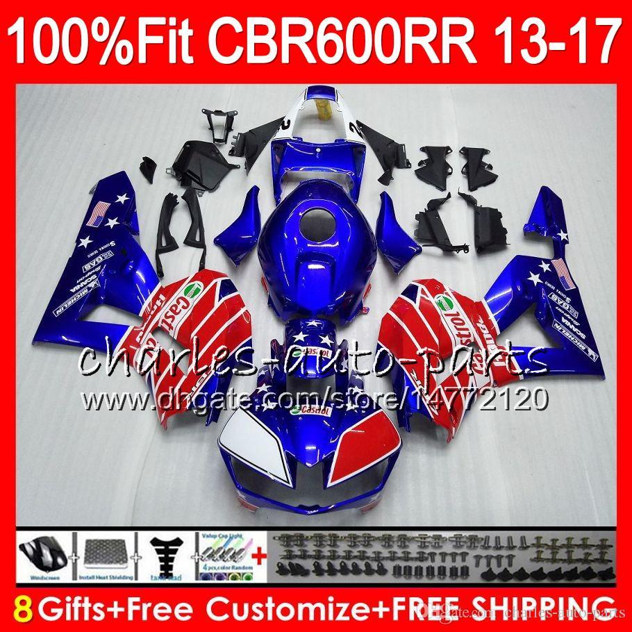 Injection Body For HONDA CBR 600 RR gloss blue red CBR600RR 13 14 15 16 17 89NO4 CBR 600RR F5 CBR600 RR 2013 2014 2015 2016 2017 Fairing kit