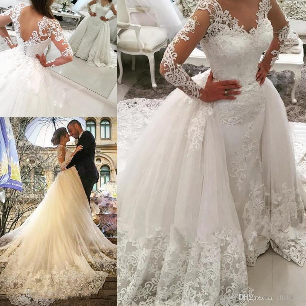 Discount vintage long sleeves wedding dresses with detachable discount vintage long sleeves wedding dresses with detachable skirt sheer v neck beads sheath wedding gowns tulle back covered button bridal dress plus size ombrellifo Choice Image