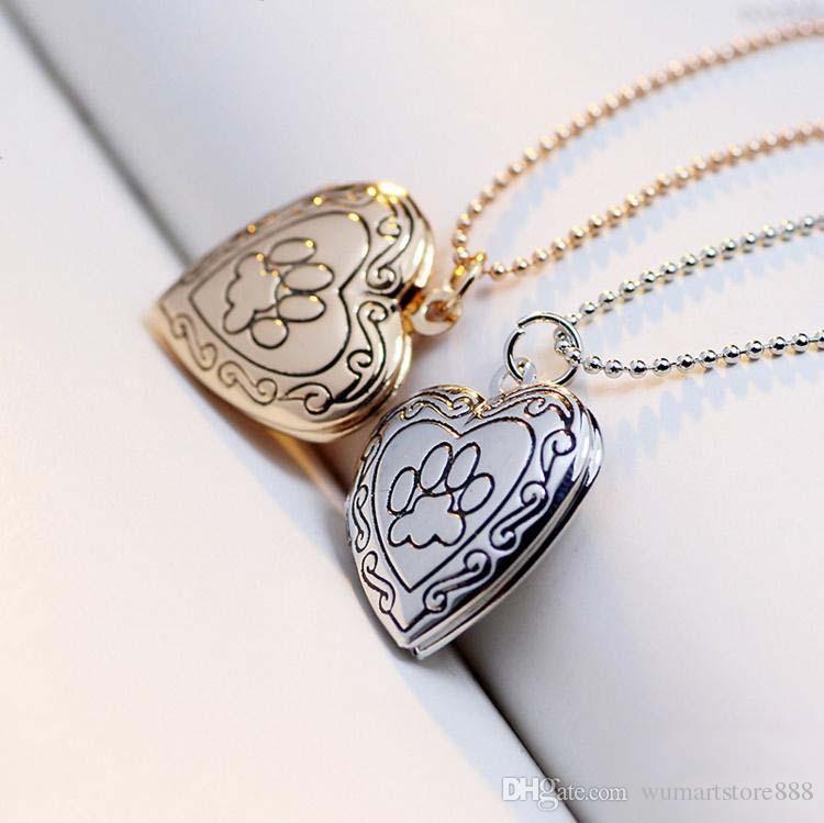 wholesale 2016 New Arrival Valentines Gift Pet Dog Paw Charm Pendant Box Photo Locket Necklace Heart Shape Jewelry