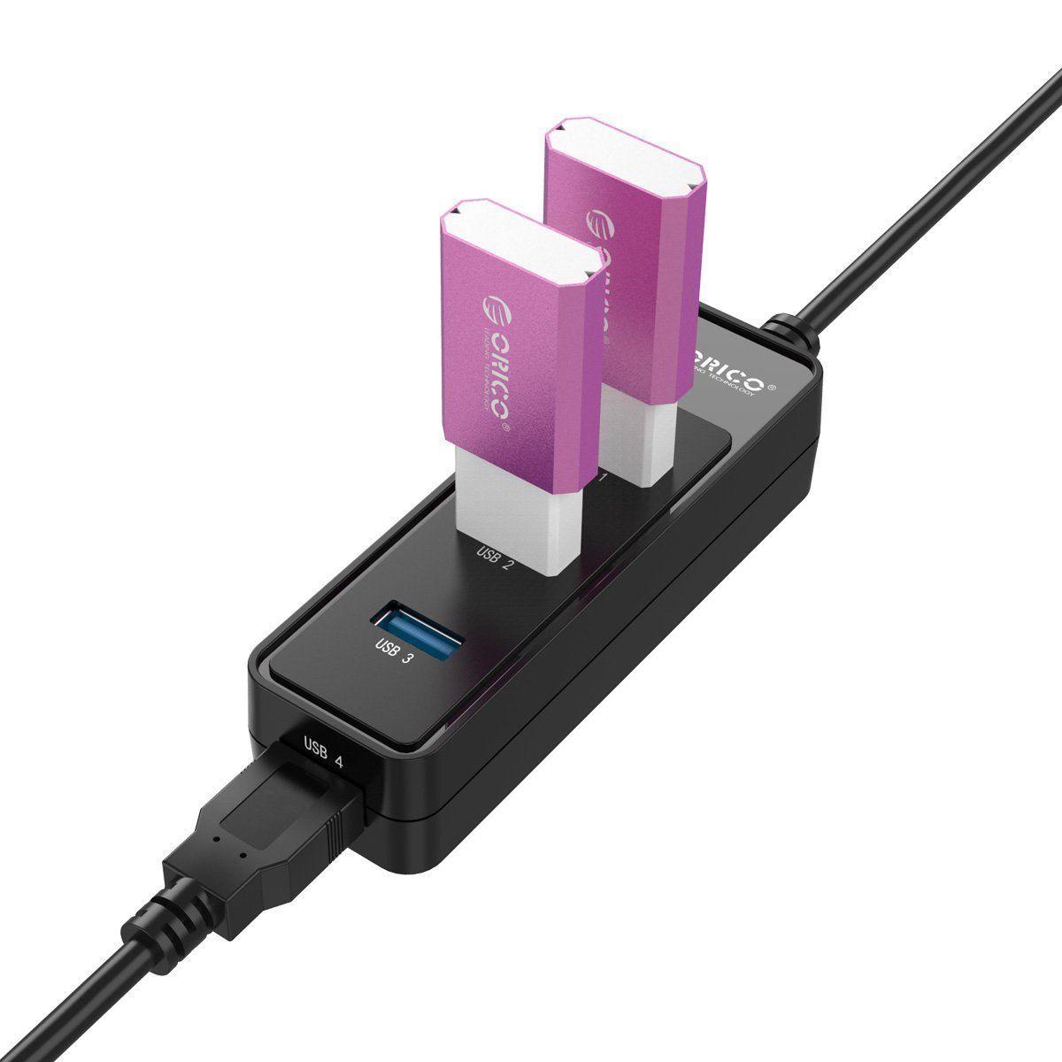 Caricabatterie Striscia Orico USB 3.0 MOZZO SuperSpeed 4 Port USB HUB divisore 1x4 di espansione USB portatile iPhone 6 Plus / Samsung / iPad