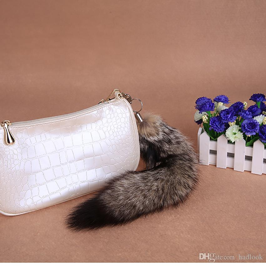 Women's Bag Charm Tail keychain Long Fox Fur Tail Handbag Trinket Pendant Accessories Furry Charm for Bags Key Chains