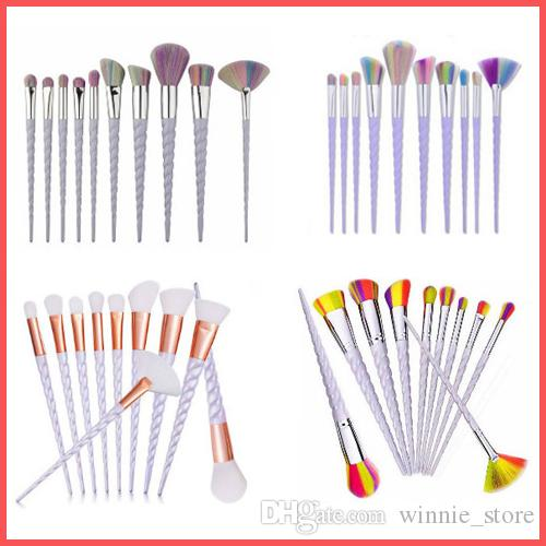 Factory Direct DHL Free Unicorn Makeup Brushes 10PCS Makeup Brushes Tools Tech Professional Beauty Cosmetics Brushes Sets
