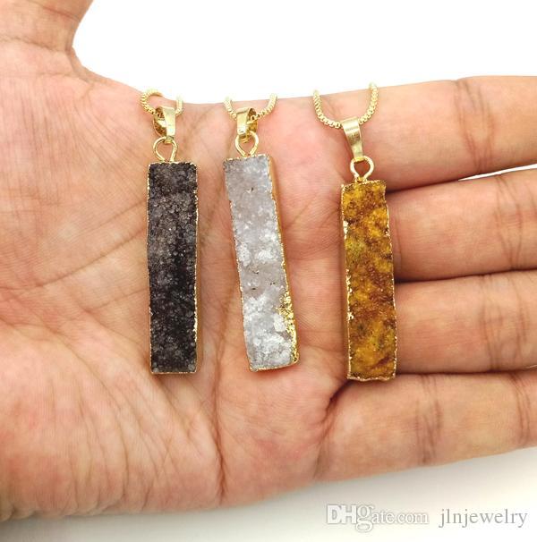 JLN Geode Druzy Agate Collar Largo Barra Rectángulo Cuarzo genuino Piedra Colgante natural con la joyería de la cadena de latón para las mujeres