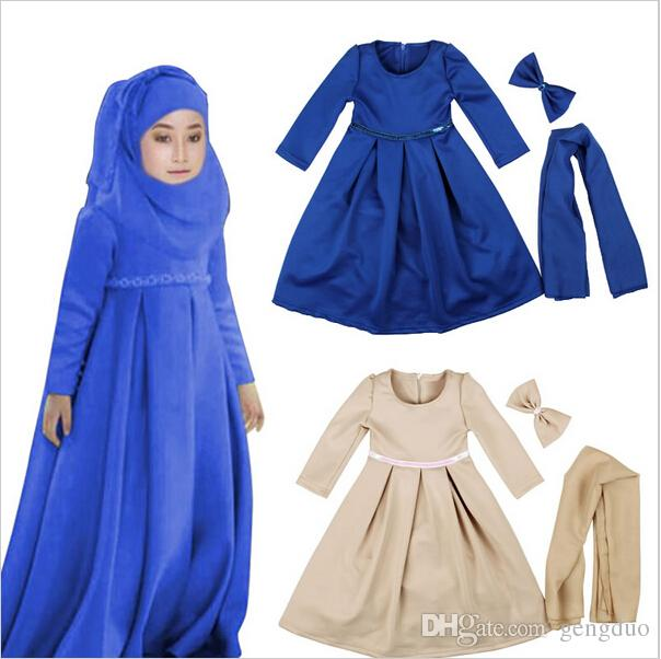 2018 muslim maxi dresses baby girls clothes costume children long