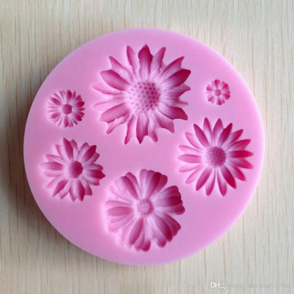 3D Flower Round Shaped Fondant Chocolate Candy Molds Cake Tools Mould Silicone TT183