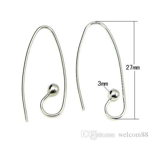 10 pçs / lote 925 Brinco de prata esterlina ganchos de descobertas componentes para jóias de artesanato diy 0.8x3x13x27mm wp067