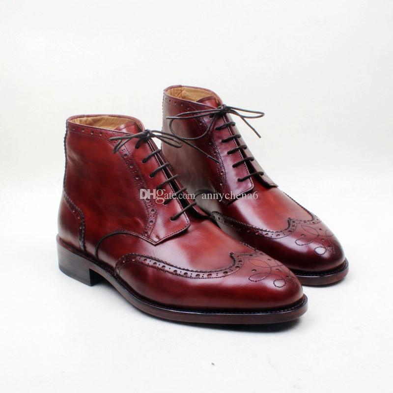 0d60b2153496 Men S Boots Custom Handmade Shoes Genuine Calf Leather Round Toe Lace Up  Hand Painted Breathable Color Burgundy Fashion Boots HD B031 Chelsea Boots  Women .