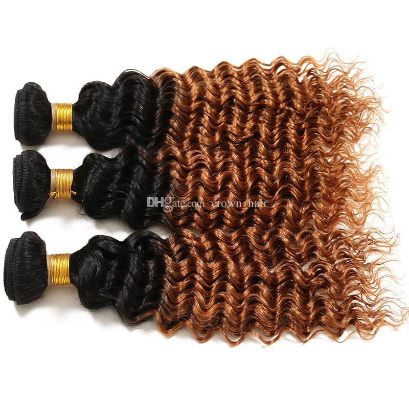 Beauty Honey Blonde Hair Bundles Deep Curly Hair Weaves #1B/30 Two Tone Human Hair Product For Black Woman