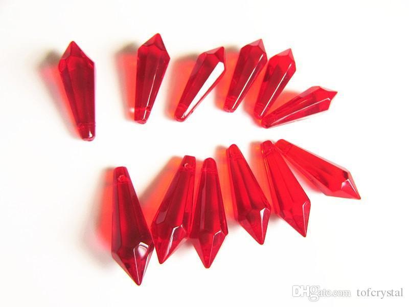 Eiszapfen-Leuchter-Kristallprisma-Blut-Rot 38mm Eiszapfen-Speer-Verzierung-DIY Kristallanhänger für Leuchter-neuen Leuchter-Kristall