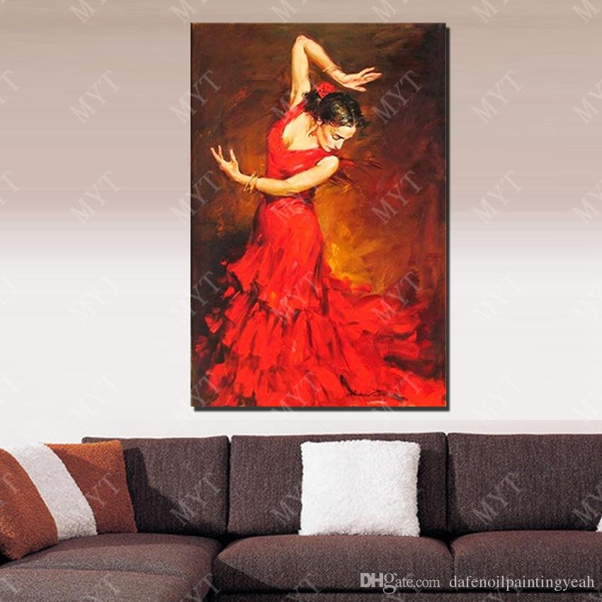 Red Dress Dance Girl Wall Picture for Home Decor Hand made Picture on Wall Beautiful Oil Painting on Canvas No Framed