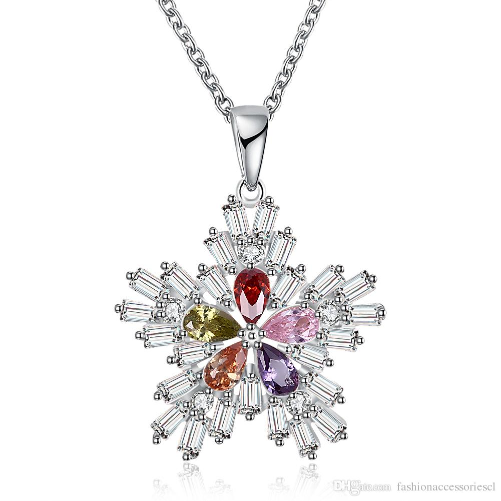 Wholesale hot salechristmas color zircon necklace women fashion wholesale hot salechristmas color zircon necklace women fashion snowflakes pendant chain 18 inch double color rose gold platinum diamond heart pendant aloadofball Choice Image