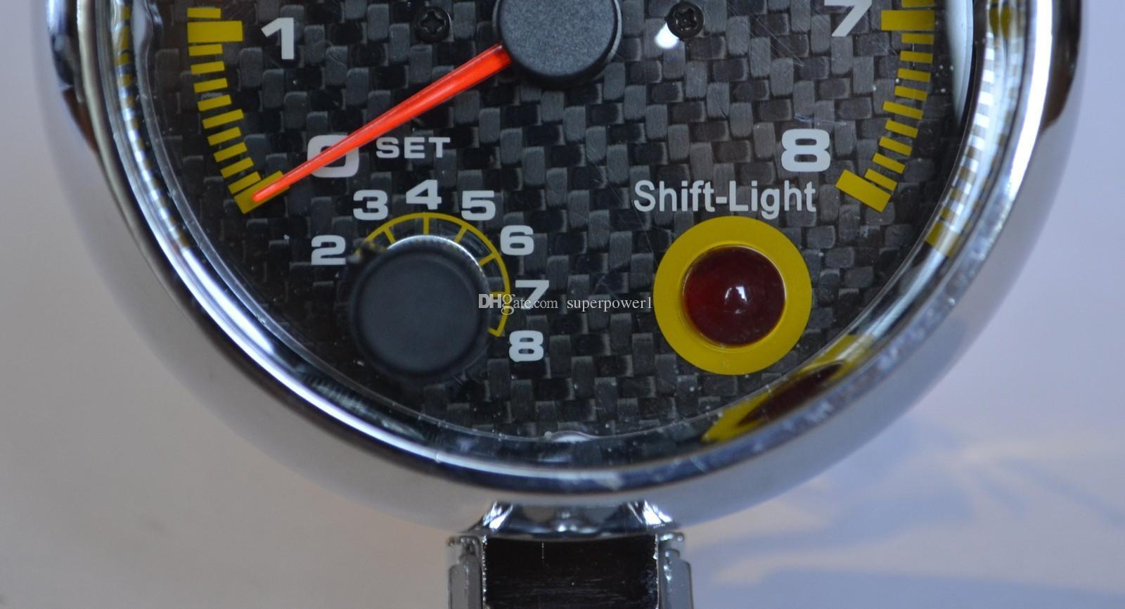 3.75 ''80mm 0 ~ 8000 타코미터 게이지 탄소 섬유 페이스 타코미터 RPM 게이지 RPM 미터 RPM 시프트 라이트 자동 게이지