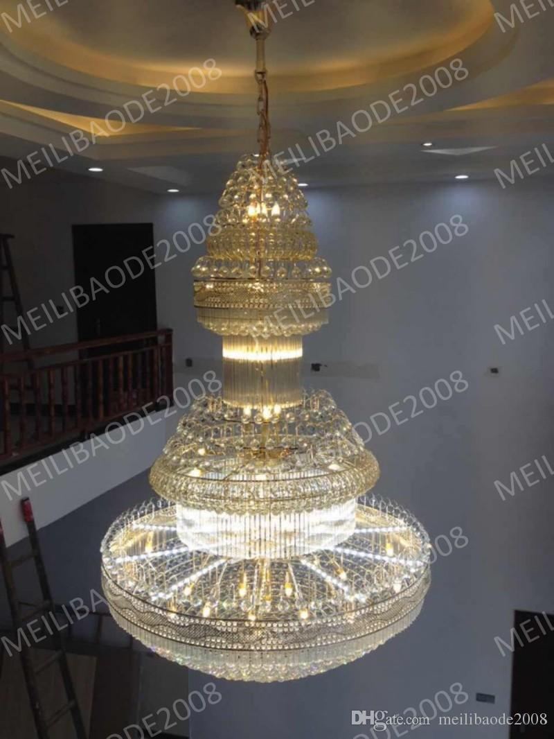 BE37 Duplex Living Room Large Chandeliers Villa K9 Crystal Pendant Lamp Hotel Engineering Hall Staircases Droplight Lights Lighting