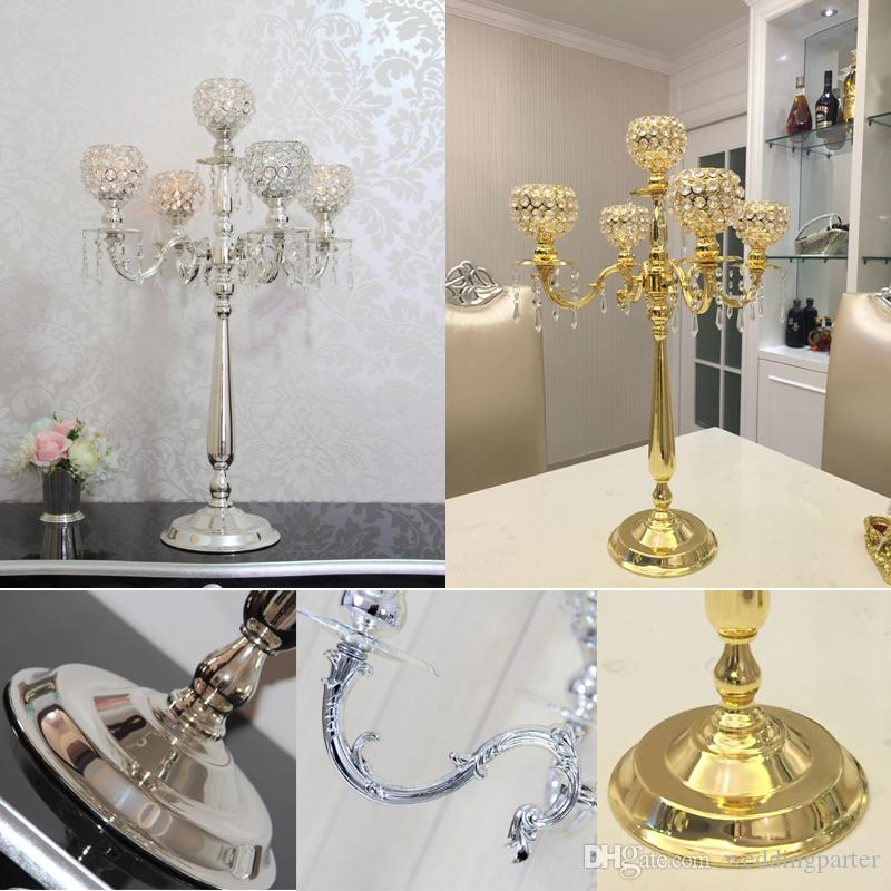 75cm Metal Gold Silver Candle Holders 5 Arms With Crystals Stand