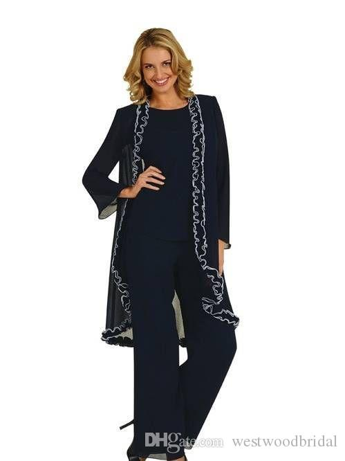2019 Mother of the Bride Dresses Black Chiffon Three Pieces Pant Suits with Long Sleeve Jacket Wedding Guest Dress Custom Made