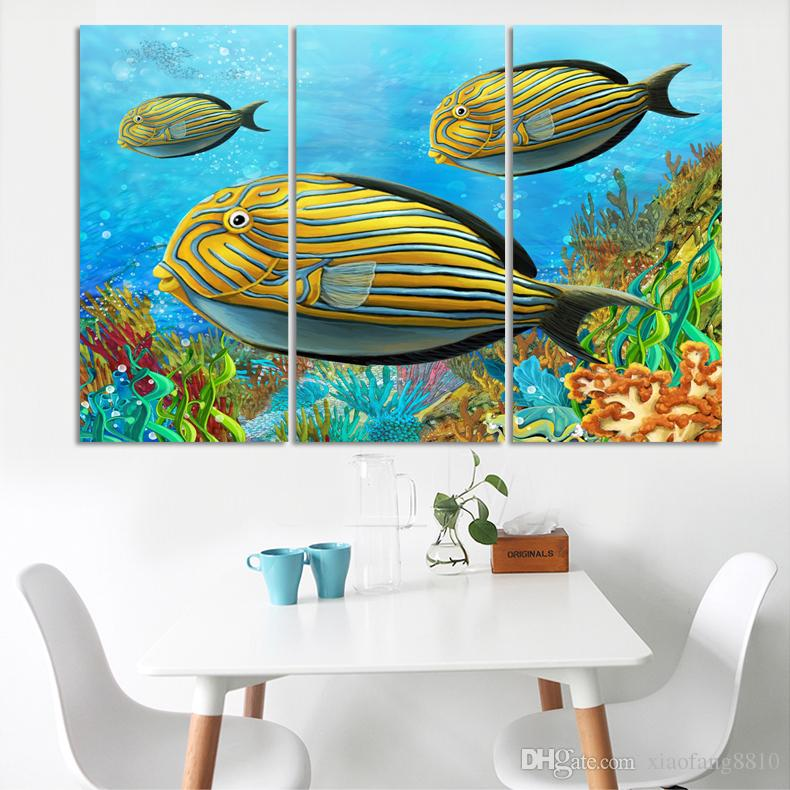 3 Panel Large colorful fish Canvas painting oceanscapes 3 Piece Wall Art Coconut Home Decor Sea Picture unique gift(No Frame)