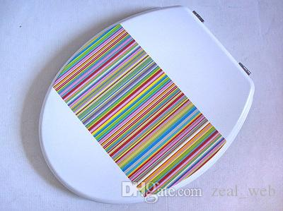 color print toilet lid & seat toilet cover quick Close Kirsite Metal Hinges MDF material