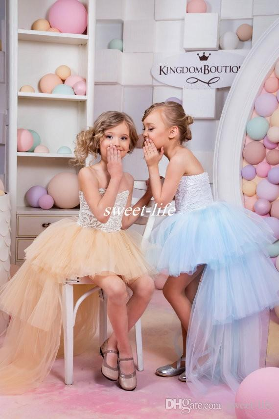 Cute High Low Flower Girl Dresses for Summer Boho Beach Wedding Champagne Tulle Vintage Lace Baby Child Party First Communion Dresses 2016