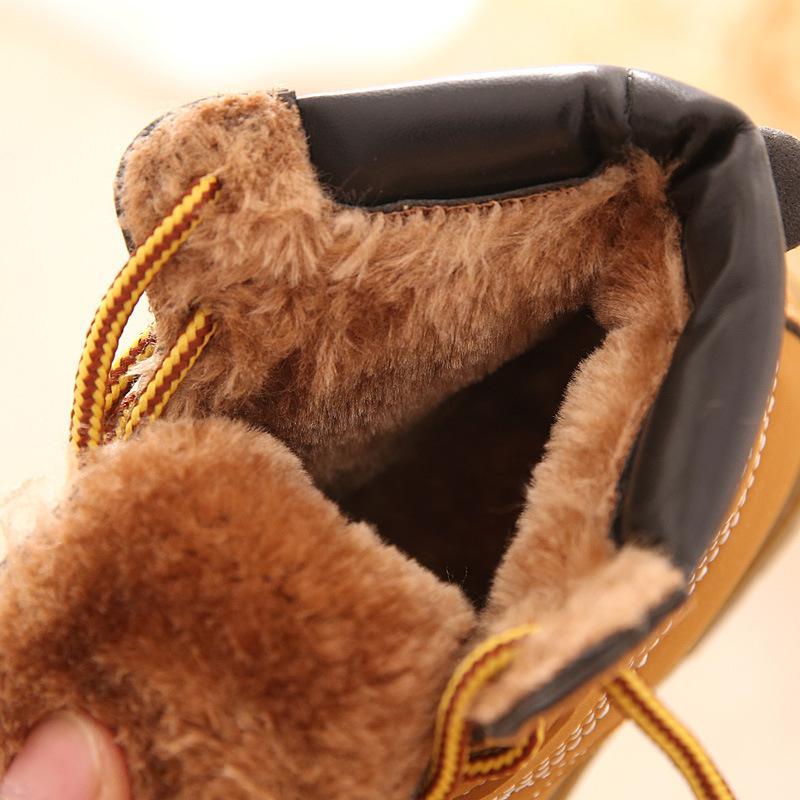 Comfy Enfants Hiver Mode Enfant En Cuir Bottes De Neige Pour Filles Garçons Chaud Martin Bottes Chaussures Casual En Peluche Enfant Bébé Toddler Chaussures