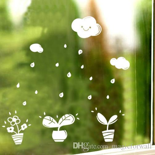 Potted Plant Raindrops Cartoon Cloud Wall Sticker Window Glass Decor Wallpaper Poster Green Bonsai Wall Mural Home Decoration Wall Applique