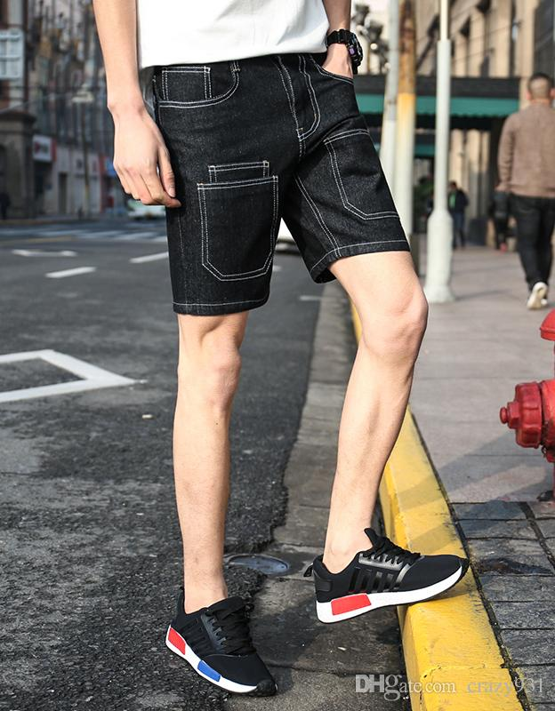 02724ed0bf78 2019 2017 Summer Fashion Men Slim Straight Shorts New Male Boy Solid  Spliced Stitching Trendy Comfort Casual Shorts M 4XL From Crazy931