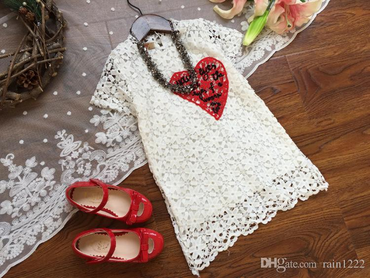 2017 New Summer Flower Girls Knit Lace Floral Dresses Pricess Red Heart Design White Dress Children Kids 100% Cotton Hollow Out Dresses