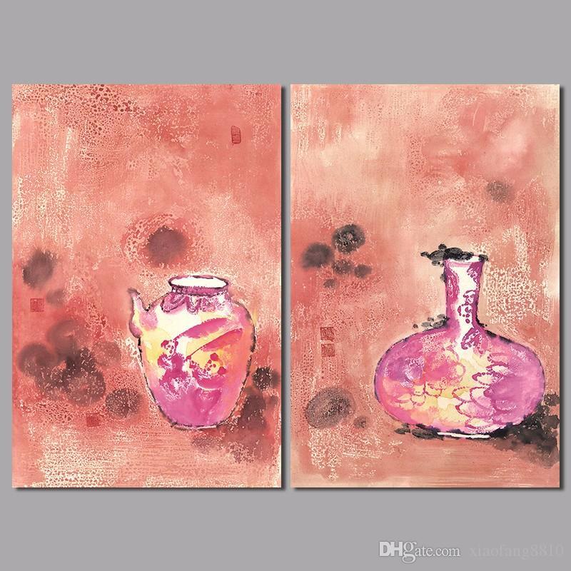 2 Unids Gran Tamaño Rojo Estilo Chino Floreros de la Decoración de Pared Imagen de Arte Wine Pot Lienzo de Pintura Para la Sala de estar Decoración Del Hogar Sin Marco