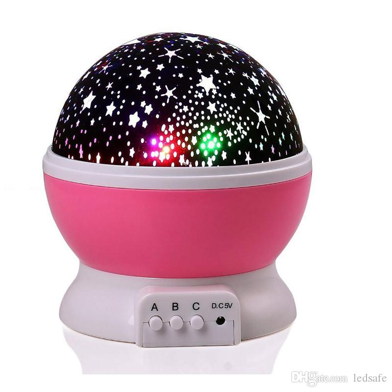 LED Night Lamp Novelty Starry Star Moon Light Changeable Projector 360 Degrees Romantic Rotating LED Effect Bulb for Holiday Kids Gifts USB