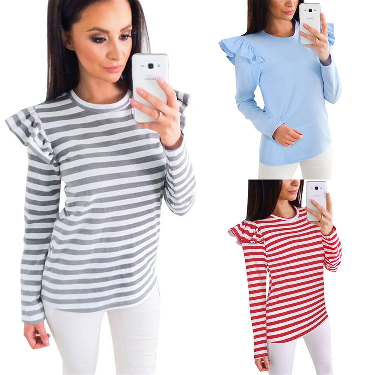 972c72247c1 T Shirt Women Clothes 2017 Autumn New Striped Tshirt Long Sleeve Tops  Womens Clothing T-Shirts Casual Tee Shirt Femme Mujer DHL MDL171008 Tops  Shirts ...